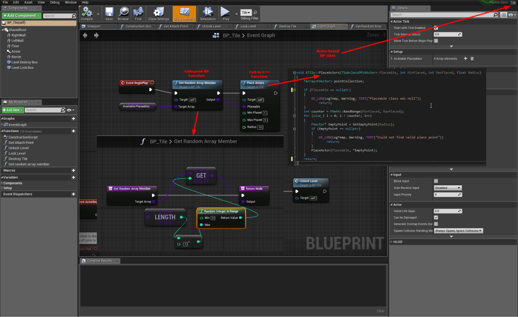 Screenshot of bluieprint & C++ code